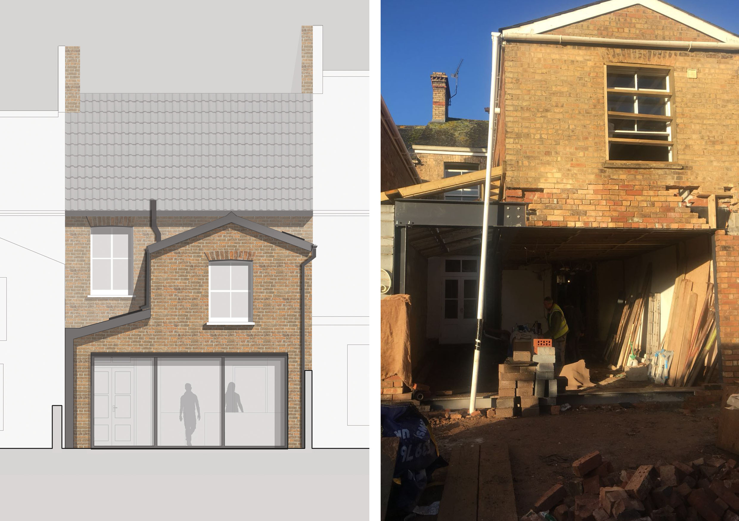 Consists of two images. The left an initial visualisation of the the rear elevation, highlighting the large picture window doors and the profile of the single story side extension. The right image is a onsite progress image showing the form of the extension taking shape.