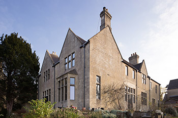 Image showing the external view of The Old Vicarage, a bath stone nineteenth century rectory in bath