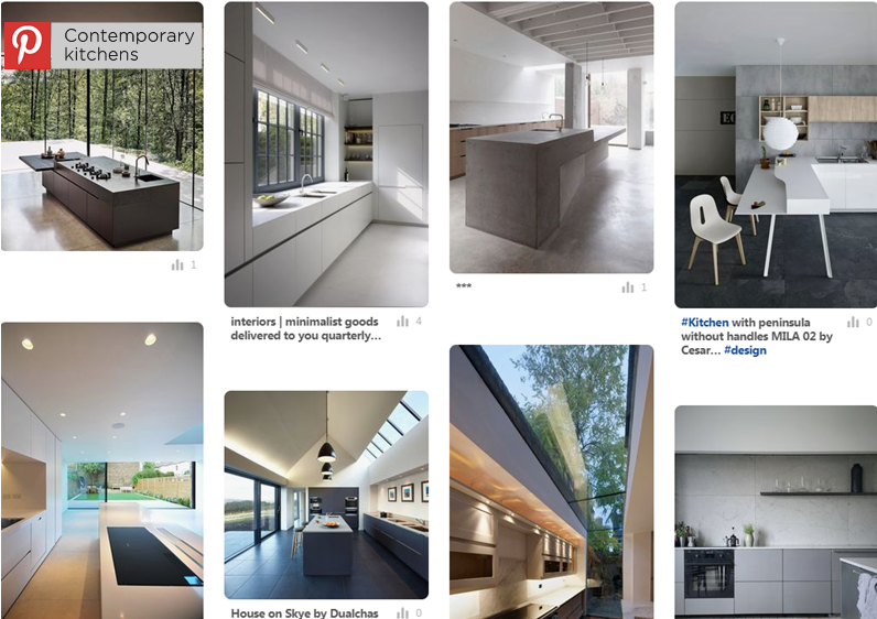 images illustrating Hetreed Ross Pinterest board for various contemporary kitchen ideas we like