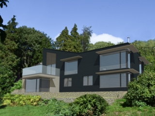 3-D scheme of Modern Passive House that has gained planning in AOB in Wiltshire