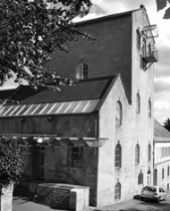 Black and White Image of the Entrance to Bath Brewery