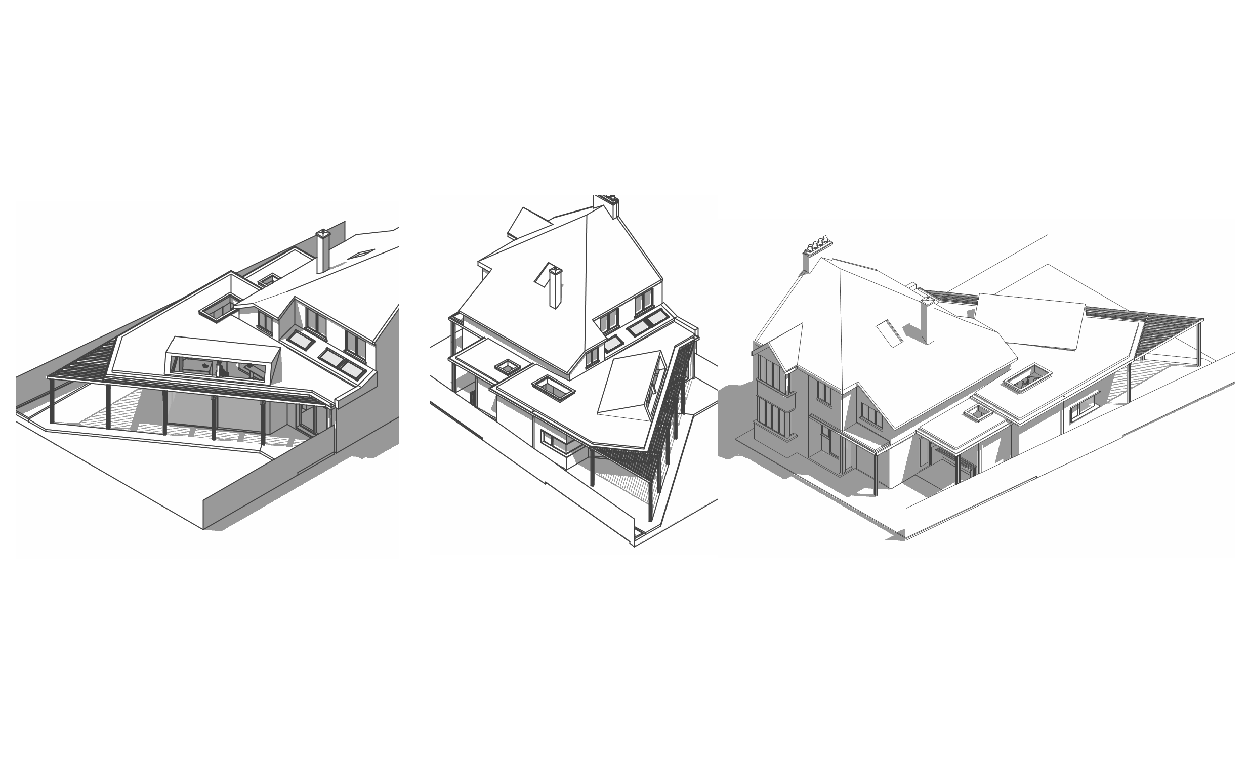 image illustrating three 3D form studies for, Timber Framed Extension, Calne