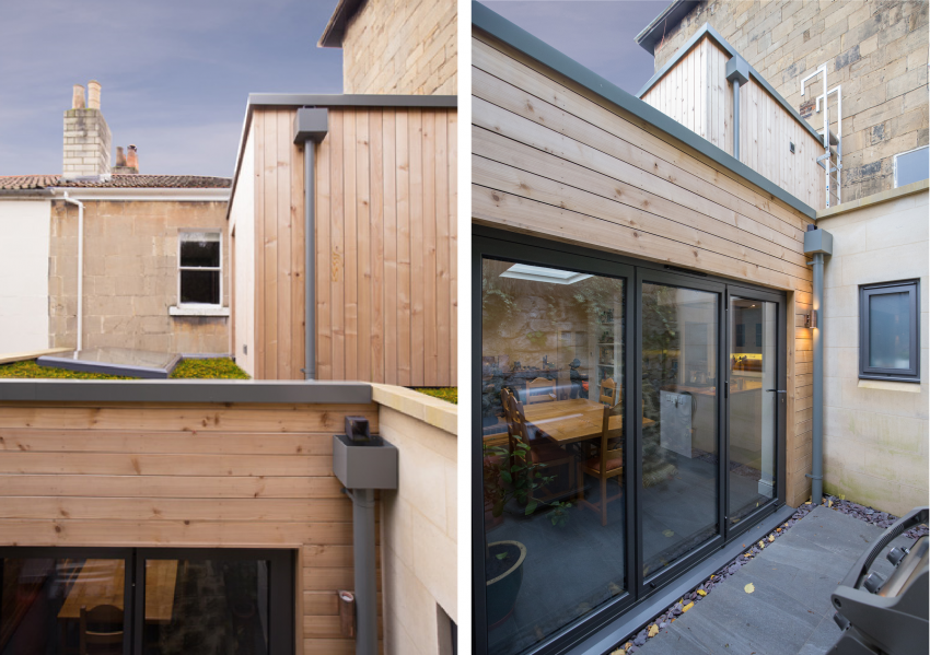 Image illustrating two external photographs of the courtyard illustrating how the cedar clad extension sits comfortably in the restricted space that was available.