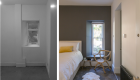 Image illustrating a before and after photograph of the bedroom. showing the transformation to a light, comfortable space.