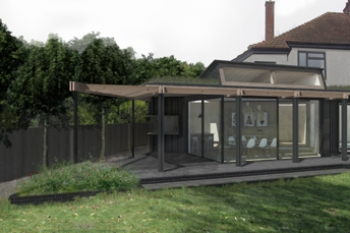 Image illustrating the perspective view of extension from garden showing large glazed door and large overhang to roof.