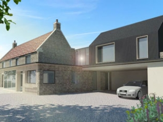 Image showing the 3D scheme for Cherry Tree Cottage.  Illustrates the proposed renovation of two stone workers cottages.