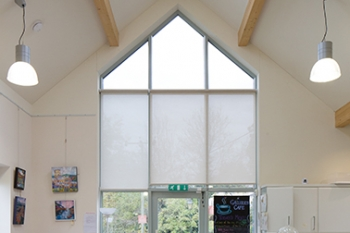 View of the light, bright interior of the Freshford Community Shop & Cafe.