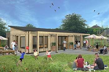 External render of our community project, Bath City Farm café in timber construction and cladding with outdoor seating