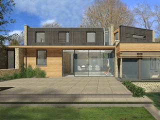 3D computer generated visualisation of the exterior of our church road project highlighted the combination of stone and natural timber cladding to the ground floor level, with dark stained timber cladding to he first floor.