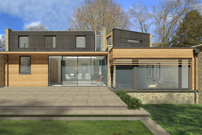 3D Visualisation illustrating the garden view of the church road contemporary ne house scheme, large full height glazing adorns the ground floor level, with dark timber cladding and modest bedroom windows to the first floor.