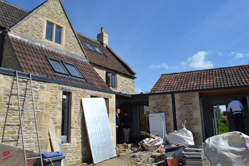 Image illustrating the on site construction of garden room extension