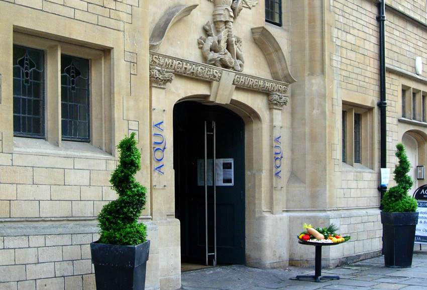 Shot of the entrance to Aqua restaurant at St Michaels Church on Walcot Street in Bath an award winning conversion of this listed Arts & Crafts style building.