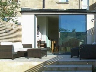 Image showing the clean lines of the contemporary extension to a modest mid-terrace house in Bath.