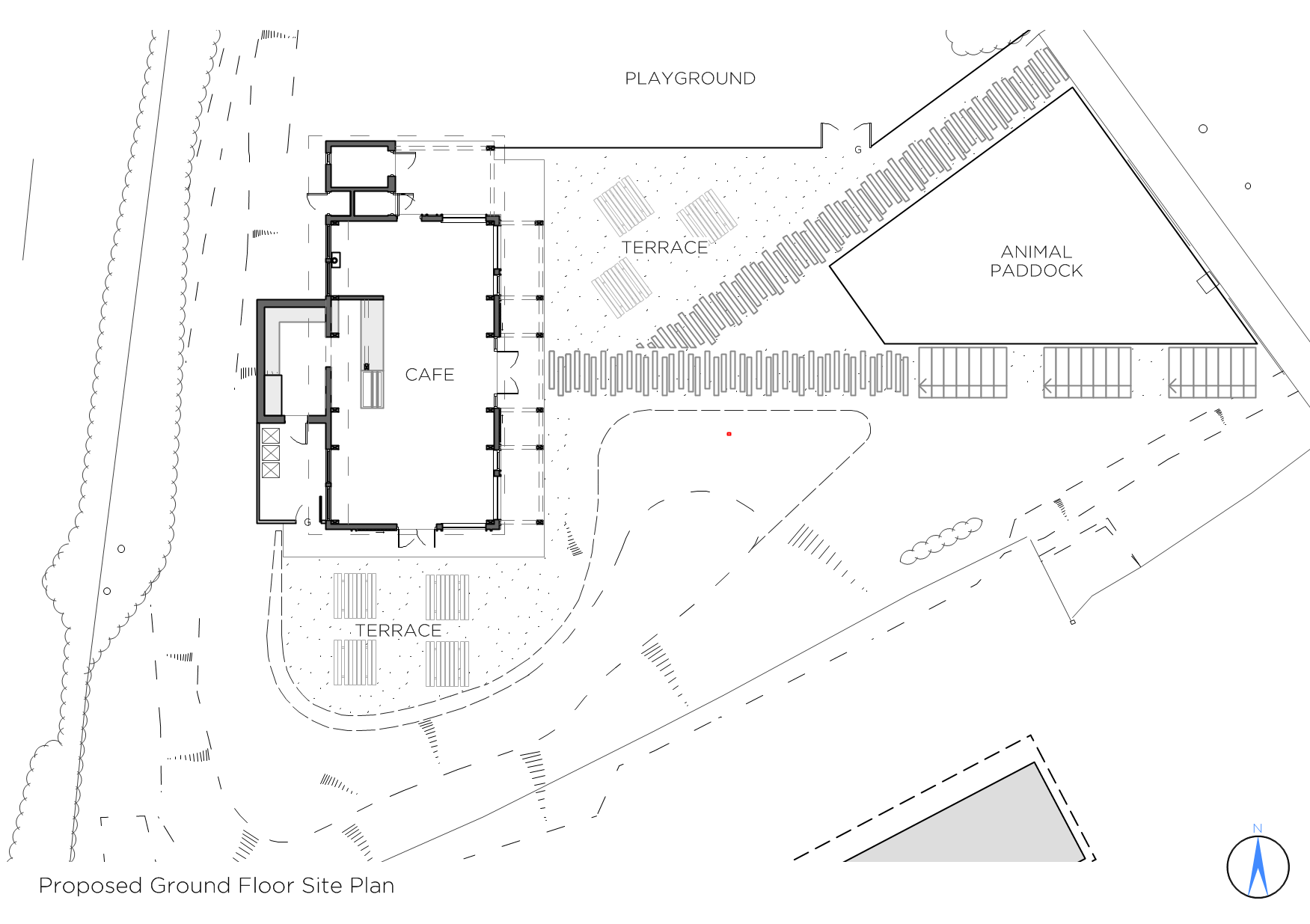 Image illustrating the ground floor site plan of the proposed cafe at bath city farm, highlighting how to building sits within the landscape
