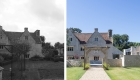 a before and after comparisong of the garden view of the manor house against the extension and extensive landscaping works.