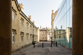 Photograph highlighting the location of the project; adjacent to the new thermal baths within Bath city centre. The photograph juxtaposes the 'new contemporary' against the 'new conserved'