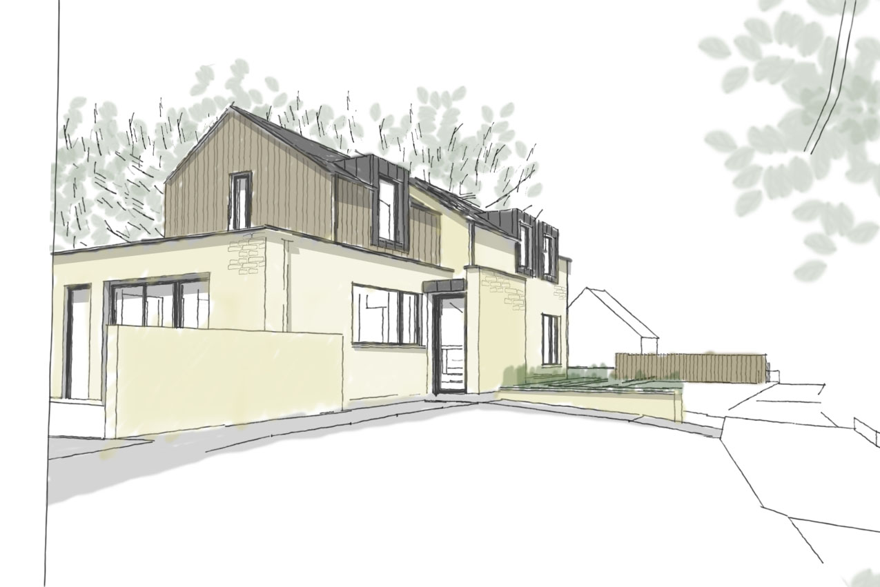 3D sketch of the planning approved scheme. line drawing with simple colour overlay to highlight the materially of the house; stone fills the ground floor with a mixture of stone and timber cladding with zinc dormers to the first floor.