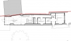 Image of the ground floor plan illustrating the linear nature of the barn and how this is separated to create 2 bedrooms and an open plan living space.