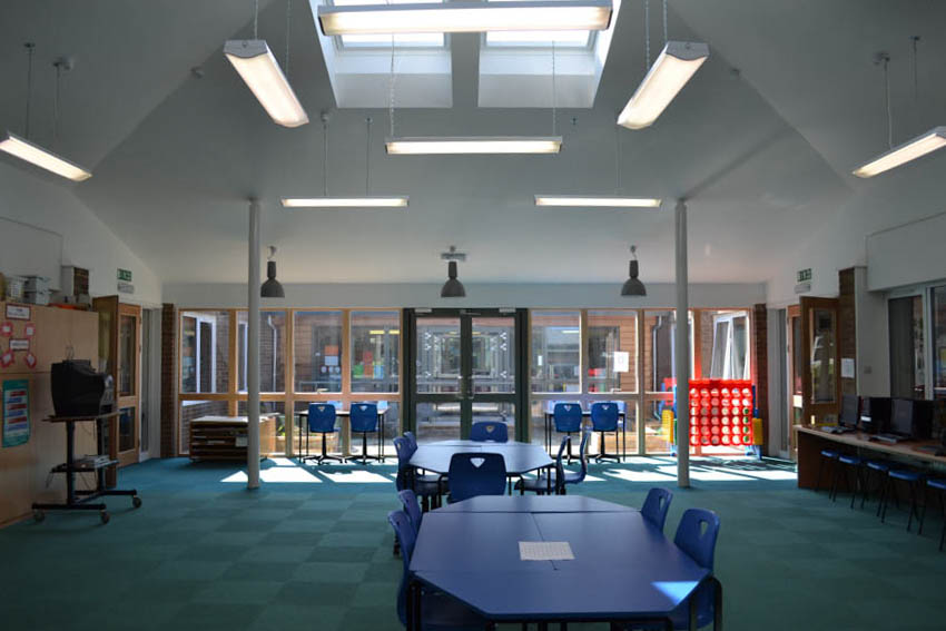 Internal view of IT suite extension to st peters primary school chippenham