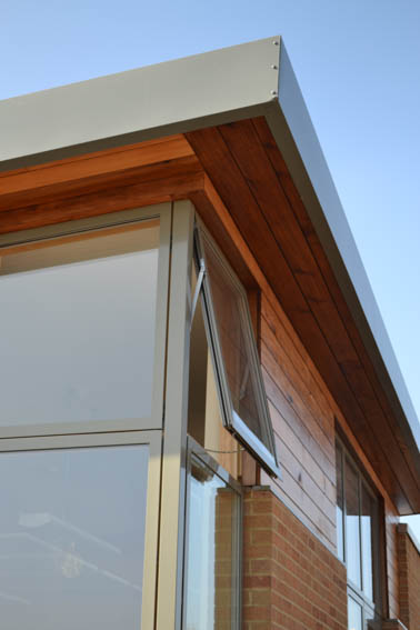 timber eaves of classroom extension to st peters primary school chippenham