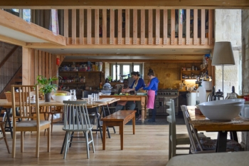 Interior shot of Jamies Farm Wiltshire illustrating the interior space created within the Grade 2* 17th Century farm building