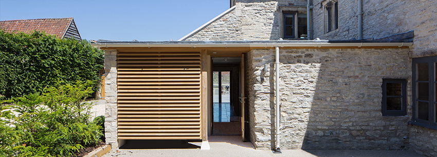 Image of new contemporary extension to listed manor house, Bath