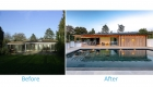 Image of  showing before and after of contemporary poolside building pavilion