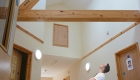 Image of a unique double height hallway with roof light and exposed timber structure