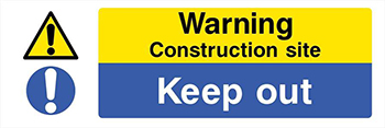 Image of warning sign used on construction site