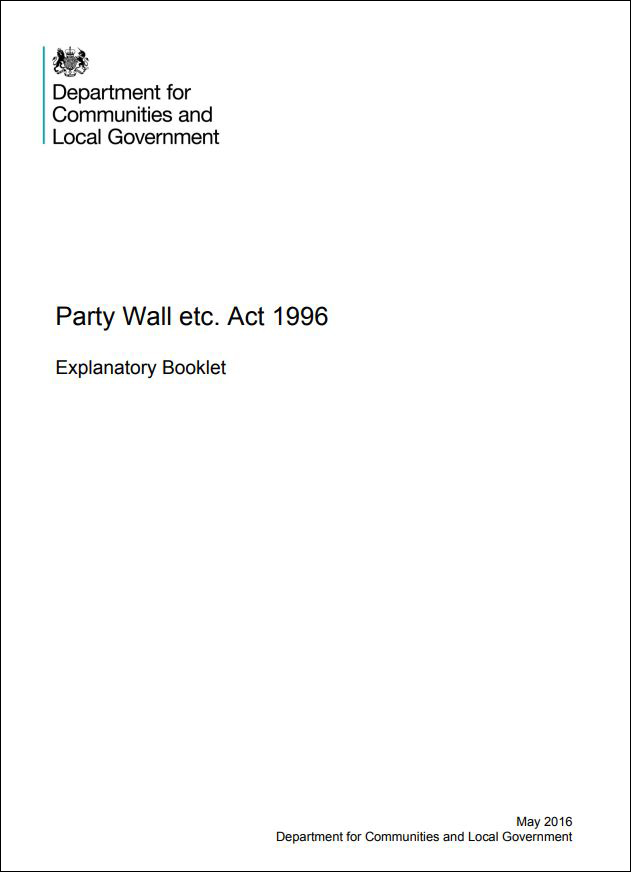 Image of party wall booklet front cover